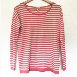 Joie Adalene Coral and Cream Striped Sweater